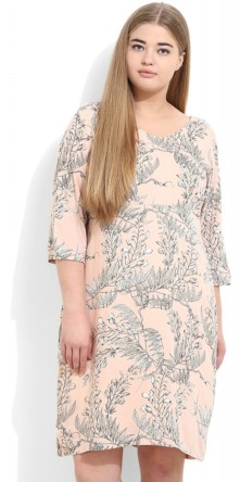 Peach Printed Midi Dress, Rs 2299