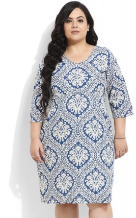 Blue & White Printed Midi Dress, Rs 1999
